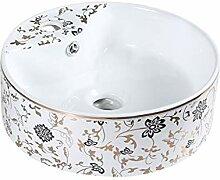 WangQ Badezimmer-Waschbecken, runden Keramikbecken