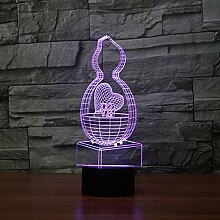Wangshengchao 3D Lampe 7 Farbe Led Nachtlampen