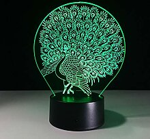 Wangshengchao 3D Pfau Lampe 7 Farbe Led