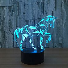 Wangshengchao 7 Farbe Zebra Pferd Lampe 3D