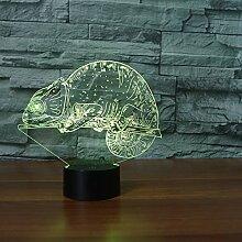 Wangshengchao Chamäleon 3D Lampe Eidechse 7 Farbe