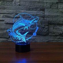 Wangshengchao Fischerei 3D Lampe 7 Farbe Led