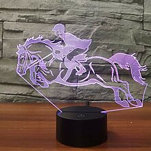 Wangshengchao Reiten Pferd 7 Farbe Lampe 3D