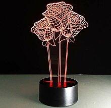Wangshengchao Rosen 3D Led Nacht Nacht