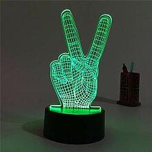 Wangshengchao Victory Finger 3D Nachtlicht 3D Led