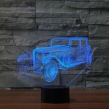 Wangshengchao Vintage Auto 3D Lampe 7 Farbe Led