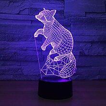 Wangshengchao Wenig Panda 3D 7 Farbe Lampe