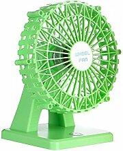 WANGXQ USB Elektrischer Ventilator Mini Portable Super Sound-Off Riesenrad Super Wind Super Sound-Off LadegeräT , green