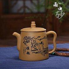 Wangzhi Erz-Teekanne, handgefertigt, aus Ton Gravur
