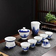 Wangzhi Tee-Set aus Porzellan, Blau und Weiß,