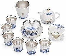 Wangzhi Tee-Set mit blauem und weißem