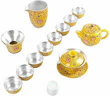 Wangzhi Tee-Set mit Teetasse, Emaille, Blau / Weiß
