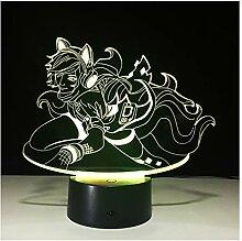 Wanjuna 3D Lampe Neuheit Led Nachtlicht Batterie