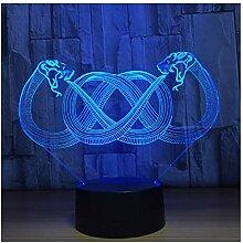 Wanjuna Zwei Schlangen 3D Lampe 7 Farbe Led