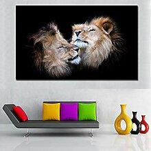 wanmeidp Zwei Löwenkopf schwarzer Hintergrund