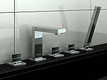 Wanne-Brause-Batterie Badewannenarmatur Handbrause Wannenrand 5-Loch Armatur Wannenkombination Wannenmischer Badewannenarmatur Auszugschlauch MODERNES DESIGN! EXCELENT QB242H