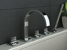 Wanne-Brause-Batterie Badewannenarmatur Handbrause Wannenrand 5-Loch Armatur Wannenkombination Wannenmischer Badewannenarmatur Auszugschlauch MODERNES DESIGN! AXIS QB262N