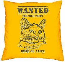 Wanted Katzen-Motiv :: Lustiges Sprüche Kissen inkl. Füllung 40x40 cm Geschenkidee für Frauen Männer zum Geburtstag Geschenk für Katzenliebhaber Farbe: gelb