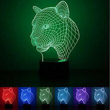 WAOBE Bunte 3D Visuelle Led-nachtlichter für Kinder Touch USB Tisch Lampara Lampe Baby Schlafen Nachtlicht (Panther Kopf) , Touch