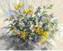 Waofe Blume Gerahmte Bilder Diy Malen Nach Zahlen