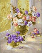 Waofe Gerahmte Bilder Malen Nach Zahlen Rose Blume