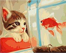 Waofe Katze Und Fisch Diy Malen Nach Zahlen Tiere