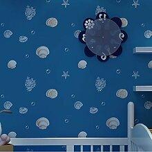 Wapea Blau Kinder Tapete für Wände Cartoon Shell Non-Woven Wand Hintergrund Roll moderne Hintergrundbilder für Schlafzimmer Mädchen Jungen Home Zimmer dunkel Blau