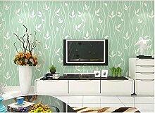 Wapea Stereo Beflockung Blätter Tapete Wohnzimmer Fernseher Sofa Hintergrundbild Schlafzimmer Grün Vliesstoffe Papel De Parede 1066