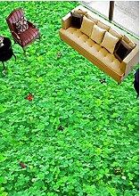 Wapel 3D-PVC Aufkleber 4 Blatt Gras Blume Drucken Rutschfeste Boden Aufkleber 200 X 140 Cm