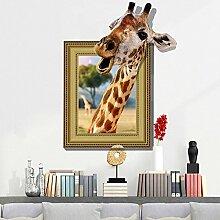 Wapel 3D Tiere Fake Windows Wand Aufkleber Für Kinderzimmer Deko Home Decor Wohnzimmer Kunst Aufkleber Wallpaper Abnehmbaren Aufkleber 71*93 Cm