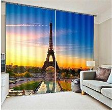Wapel Eiffelturm Luxus Fenster 3D-Gardinen Set