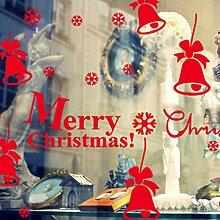 Wapel Glas Fenster Aufkleber Sticker Weihnachten Weihnachten Glocke Ornamente Weiß