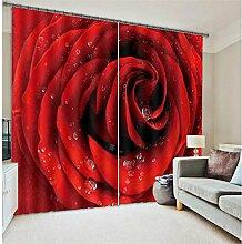 Wapel Rose Luxus Fenster 3D-Gardinen Set Für Bett