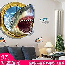 Wapel Selbstklebende Wand Dekoration Aufkleber Aufkleber 3D Kinder Schlafzimmer Zimmer, 07 3D-Shark Bruder