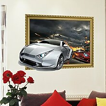 Wapel Visuelle 3D-Wand Wallpaper Wallpaper Cartoon Kinderzimmer Dekoration Umweltschutz Aufkleber, 3D Car