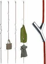 Wardrope Garderobe Seil Rot, 4 Haken Matt Verchr.