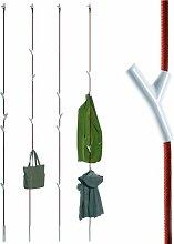 Wardrope Garderobe Seil Rot, 4 Haken Weiß