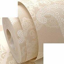 warm und pastorale Wallpaper/Beige und elegante Blume Tapeten/Schlafzimmer Wohnzimmer Sofa Hintergrundbild/3D geprägte Stickerei-wie Tapete-A