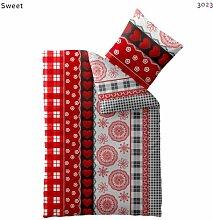 Warme Mikrofaser Bettwäsche 155 x 220 cm + Kopfkissen-Bezug 80 x 80 cm mit Reißverschluss Eden Sweet rot weiß