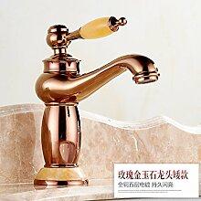 Warme und kalte Waschtisch Armatur Waschtisch Armatur Armaturen niedrig), 19,5 cm,/braun