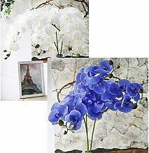 warmerly 6PCS Big 9Blumen Simulation Schmetterling Orchidee Künstliche Blume Pflanze Home Dekoration blau/weiß
