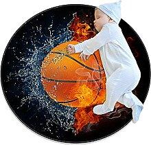 WARMFM Basketball Kinder Spielplatz Teppich Runder
