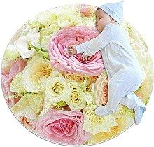 WARMFM Blumen Kinder Spielplatz Teppich Runder
