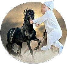 WARMFM Pferde Kinder Spielplatz Teppich Runder