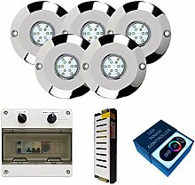 Warmpool LED-Einbaustrahler, Edelstahl, RGB, 60 W,