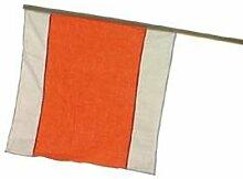 Warnflagge weiss/orange mit Stiel 500 x 500 mm