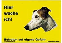 Warnschild Greyhound braun/weiß Hier wache ich