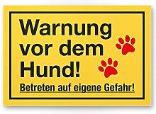 Warnung Hund - Betreten eigene Gefahr (gelb) - Hunde Schild, Hinweisschild Gartentor / Gartenzaun - Türschild Haustüre, Warnschild Abschreckung und Einbruchschutz - Achtung Hund