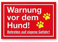 Warnung Hund - Betreten eigene Gefahr (rot) -