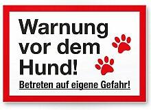 Warnung Hund - Betreten eigene Gefahr (weiß-rot)